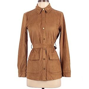 Forever 21 Button Up Jacket Faux Suede Brown Small